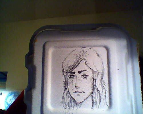 Talk about fangirling, I drew this on the tray that my Indian food was in while listening to a sad Makorra AMV that I saw on my dashboard. Idk the context of this but I guess it's Korra(with her hair down) tearfully uttering some nasty words to Mako cause he fucked something up real bad. MY FEELS.
