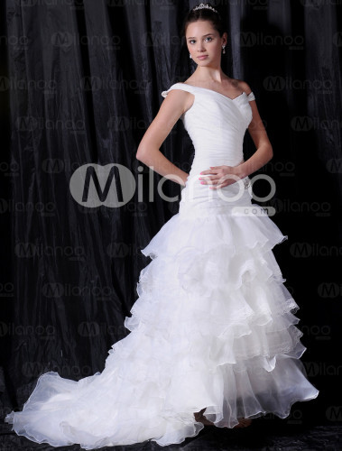 Ivory Off-The-Shoulder V-Neck A-line Satin Organza Bridal Dress :  satin bridal dress ivory