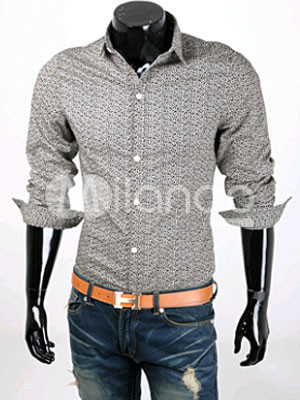 Fashion Black Cool Long Sleeves Cotton Men's Casual Shirt