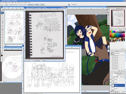 WIP 5/7/2012 @ 2:22 AM Probably shouldn't spam the Digimon tag with this but it is in the pic… @_@ Goals before I sleep:-Outline the Frontier train pic-Shade/texture Kouji's dog-Finish tomorrow's VDoML strip-Outline Tuesday's VDoML strip- Sketch page 4 of Project Eta