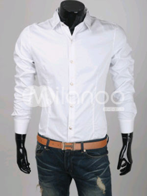 Handsome White Turndown Collar Cotton Men's Casual Shirt