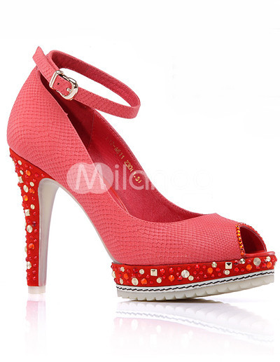 Watermelon Red Peep Toe Buckle Rivet Sheepskin Womens Ankle Strap Shoes :  watermelon sheepskin sandals buckle
