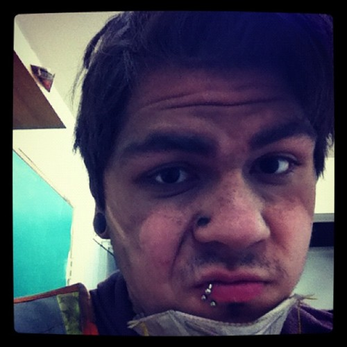 Can see the outline of my mask, I was THAT dirty today (Taken with instagram)