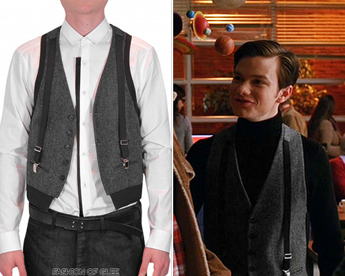 fashionofglee:  Neil Barrett Double Fabric Waistcoat With Suspenders - No longer available Also worn in: 3x16 'Saturday Night Glee-ver' with Marc by Marc Jacobs bag