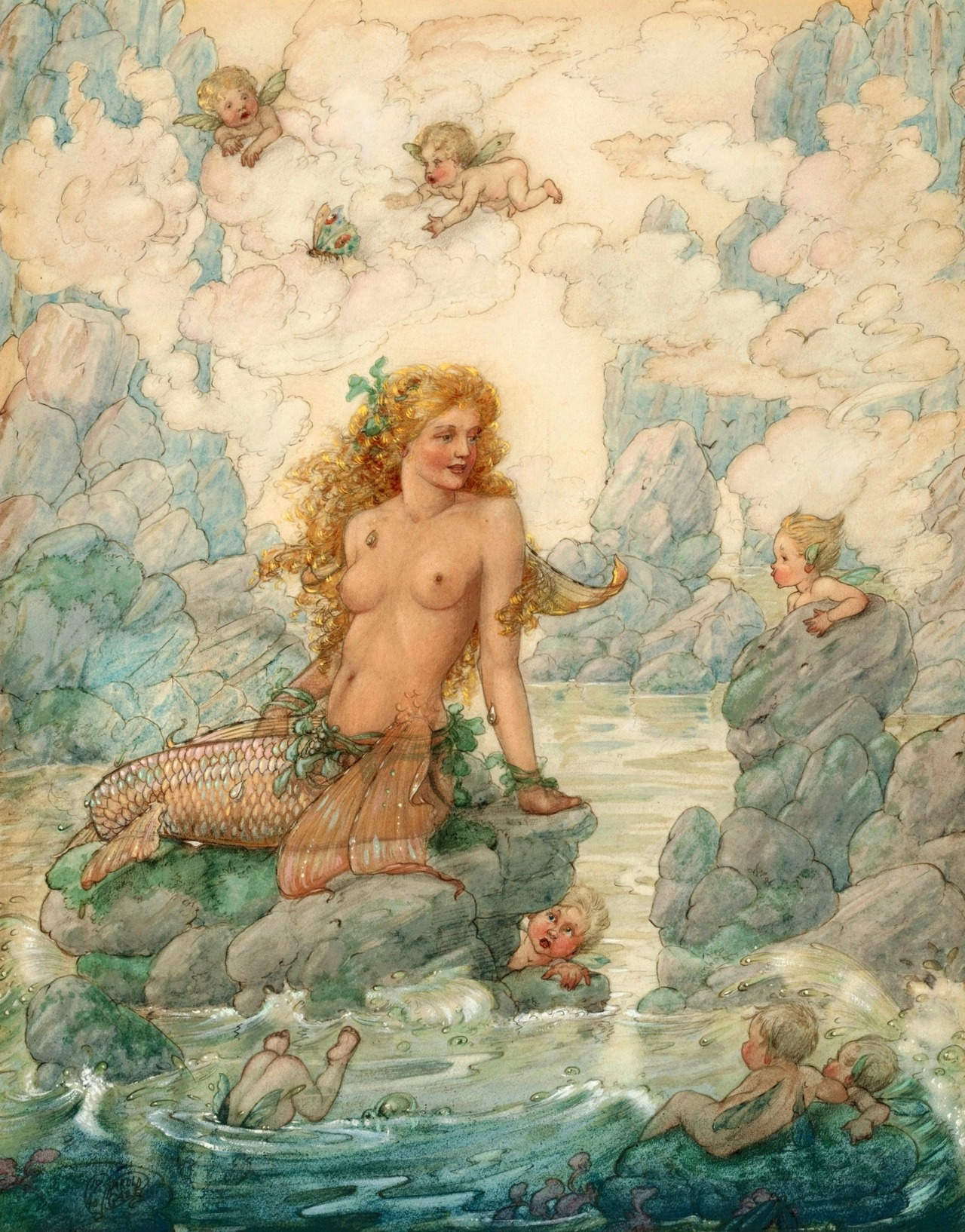 Harold Gaze ~ Mermaid and Sea Cherubs ~ via