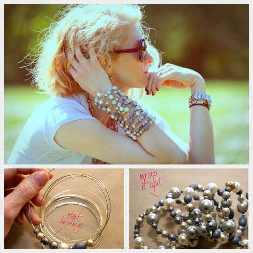 truebluemeandyou:  DIY Very Long Beaded Wrap Bracelet. With information on the gauge of wire to use (thank you!). Tutorial from Trinkets in Bloom here. *You could also use memory wire (look for it at Michaels, Hobby Lobby, etc..  This is excellent. Most of the cute bracelets I see don't even come close to fitting my chubby wrists. I can't wait to give this one a try. -Shelby