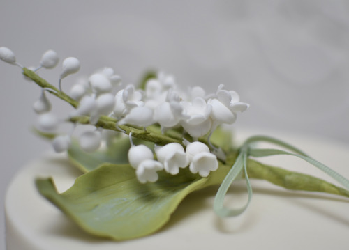 Close up of the lily of the valley sugar flowers