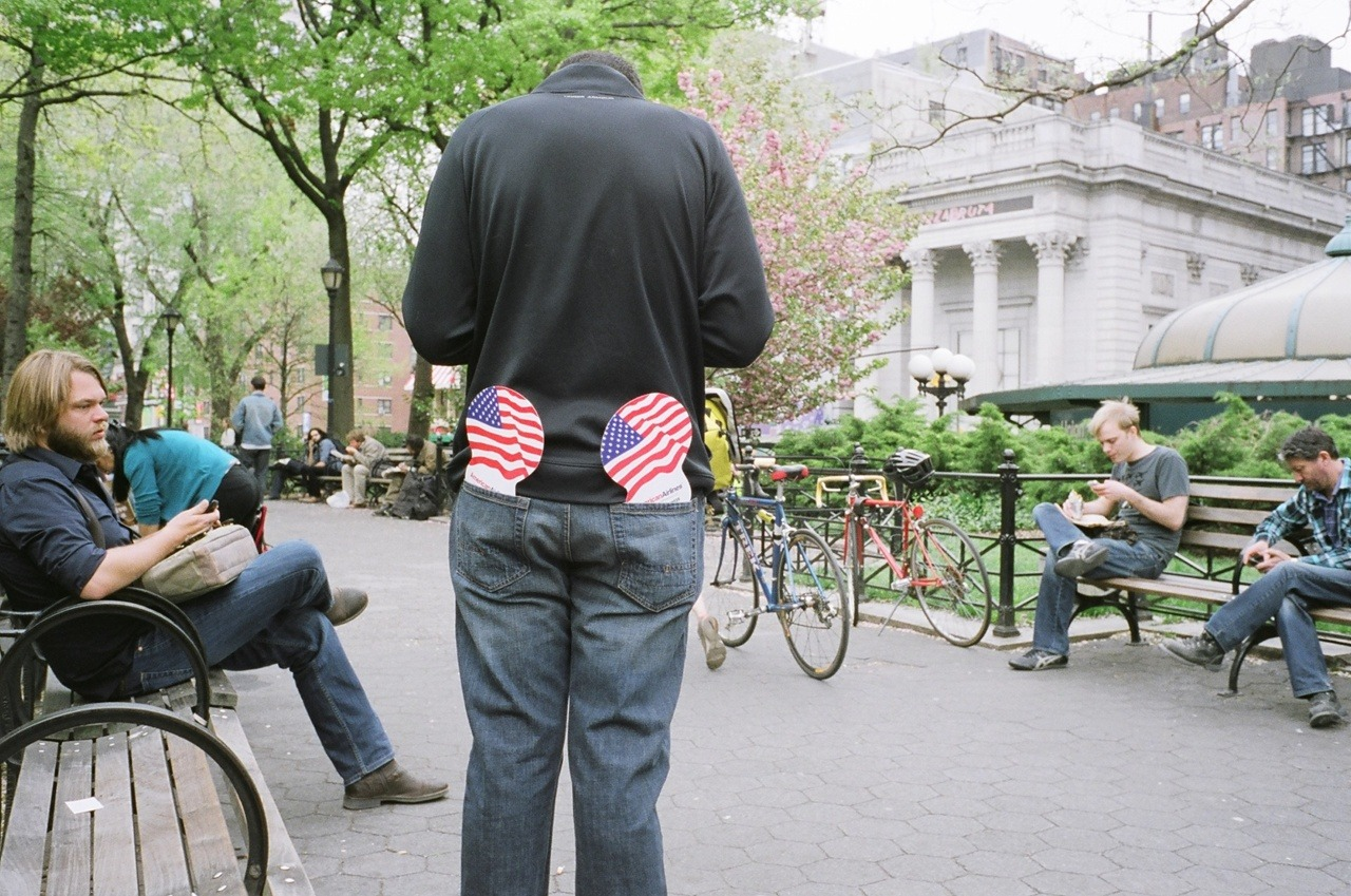 patriotic pants in Union Square.
