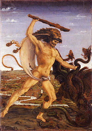 myancientworld:  The 12 Labours of Hercules:  To kill the Nemean Lion To kill the Lernian Hydra To fetch the Erymanthian Boar To capture the Hind of Keryneia  To drive out the Stymphalian Birds To clean the Augean Stables To capture the Cretan Bull To tame the horses of Diomedes To fetch the girdle of Hippolyte To fetch the oxen of Geryon To fetch Kerberos from the Underworld To fetch the Golden Apples of the Hesperides