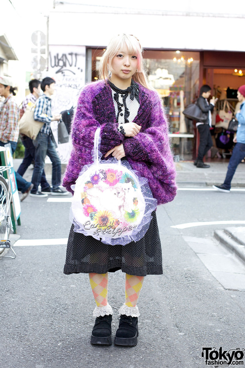 Harajuku girl w/ pink-streaked hair, polka dots & argyle + Candy Stripper bag w/ cats & flowers.