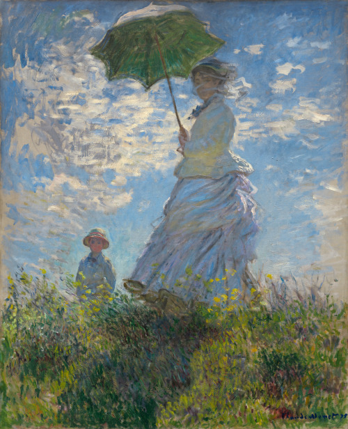 estherthanthou:  Claude Monet - Woman with a Parasol (Madame Monet and their son Jean), 1875