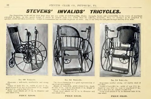 "~ Stevens Chair Co., c. 1905(click to enlarge)""They are arranged to be propelled by sprocket, crank and chain movement.""Interesting use of the hand crank…"