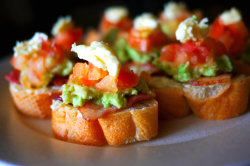 hermajestysuying:  Bruschetta with bacon, avocado, tomato, topped with Brie.