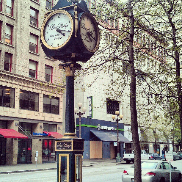 Ben Bridge Clock downtown Seattle near  WestLake park Taken with instagram
