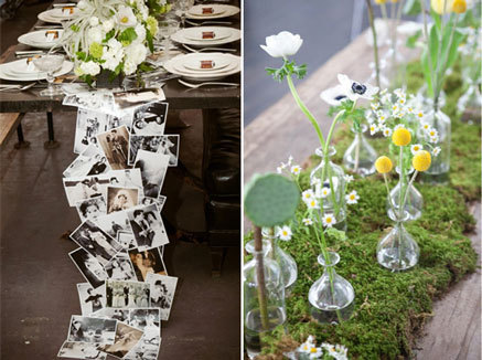 "Photos and Moss. We really like the idea of using family photos as a table runner—it's entertaining to your guest and is a great way to tie in your roots. Speaking of ""roots"" we are huge fans of moss table runners–it's so playful and outdoorsy! (via DIY Table Runners 