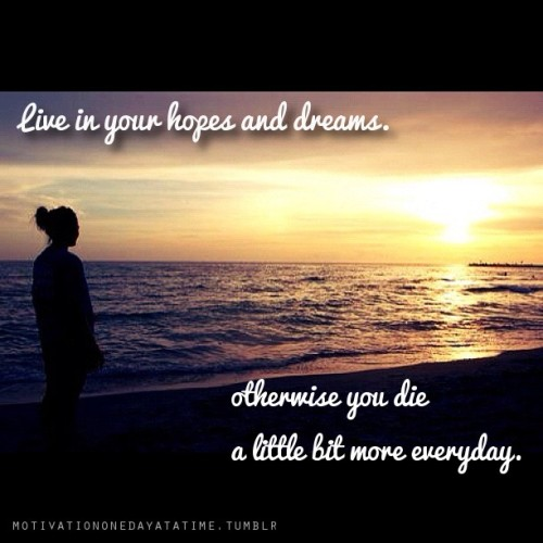 Live in your hopes and dreams.