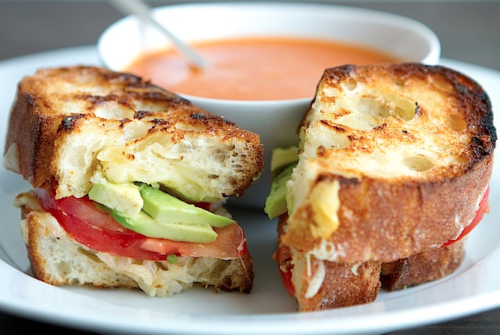 gastrogirl:  grilled cheese with garlic butter, tomato, and avocado.