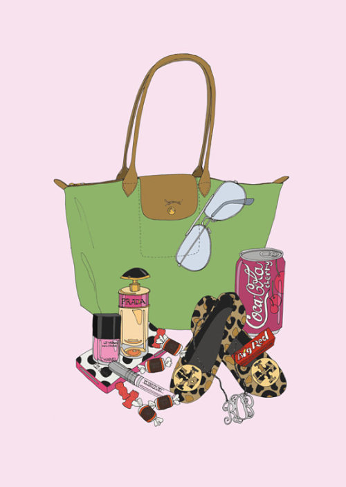 pinklipstickandcupcakes:  OMG. This is a custom What's in My Bag print. I'm dying. I want one for me.