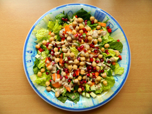 seedsnsmiles:  21 Day Cleanse - Meal 3, Day 1. Chickpea, pomegranate and sunflower seed salad with tahini/balsamic dressing. Instead of the usual lemon/tahini/nooch/almond milk dressing, I switched the lemon for balsamic vinegar and it was mmm good. I'll definitely be doing that again. Oh, and for dessert I had a small banana, which obviously, is un-pictured. :P
