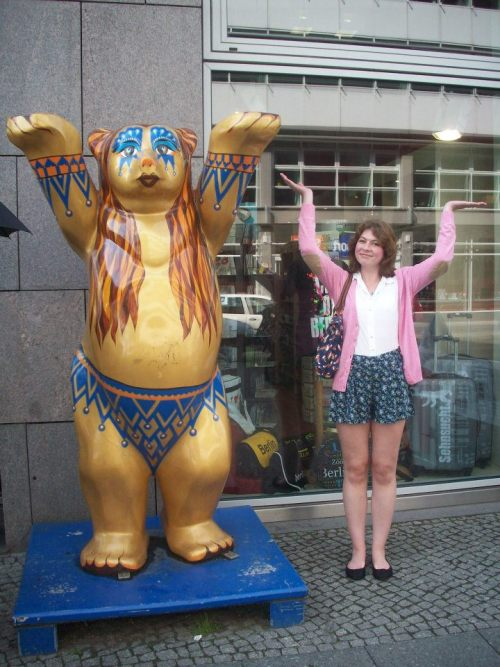 Me in Berlin! There are loads of these bears around, and we tried to get pictures with as many as we could. We only managed 4, but we saw loads elsewhere. I am pulling a bit of a funny face here, I know.