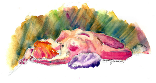 Aaaaand back to the watercolors and vibrant colors. [desc. watercolor of a person lying on their back stretched over a pillow, head turned away, from a top right view.]