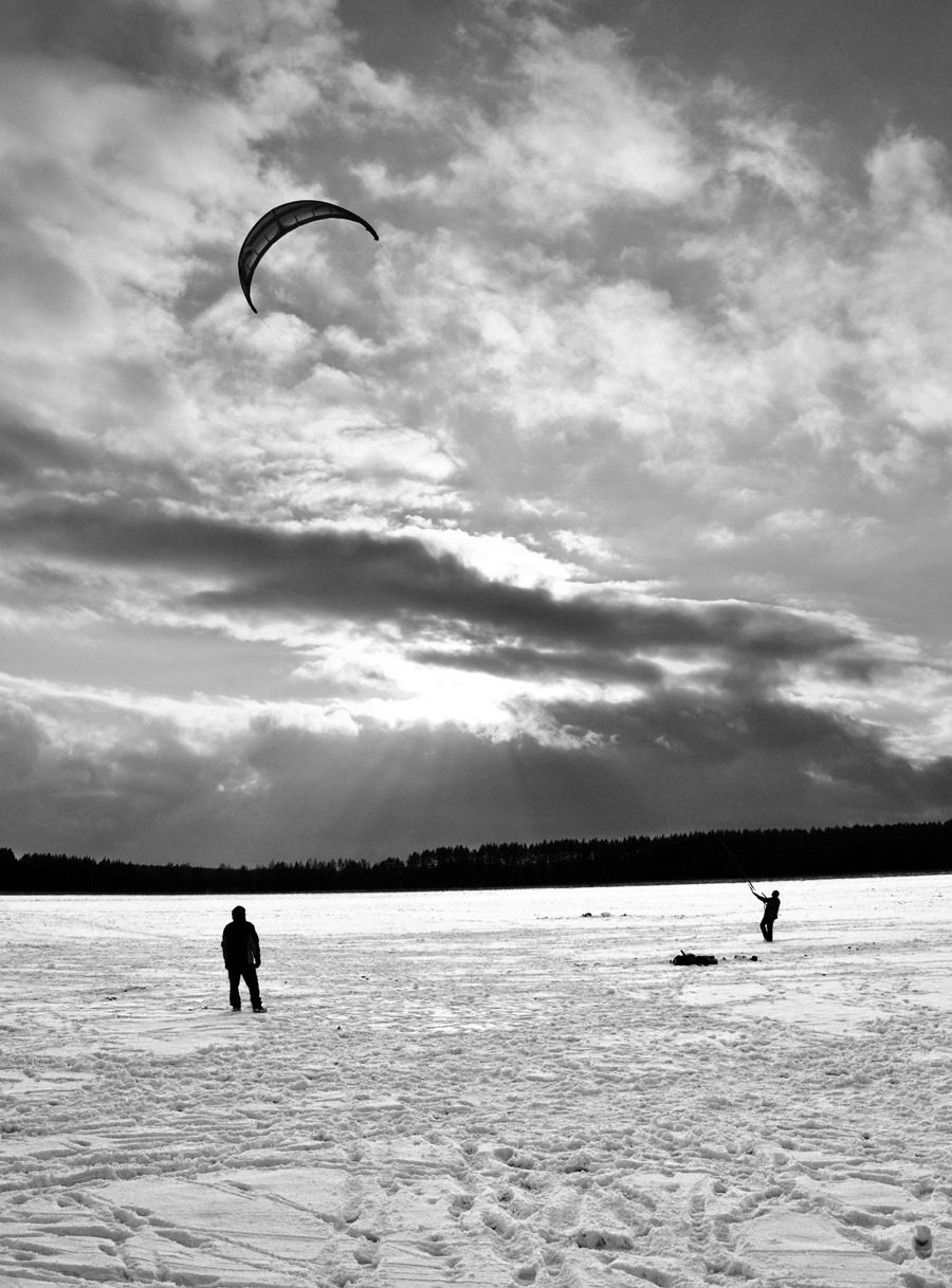 Kite skiing in Poland