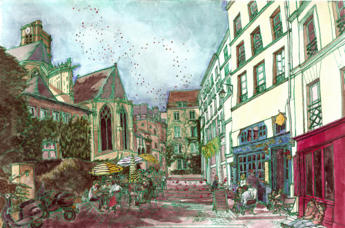 And here is my most recent intensive watercolor! This is the Rue des Barres in Paris, where the workshop/studio program that I participated in July 2011 stayed for several stays. [desc. watercolor looking up a street of medieval buildings with cafes at the ground level; one side of the street is shaded, the other lit. The outline is in green and the overall color scheme is cool.]