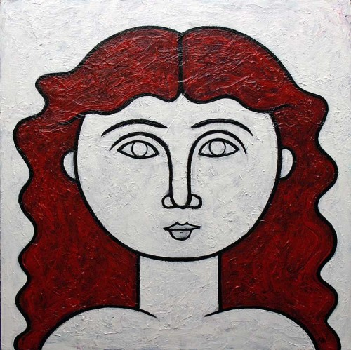 woman with red hair 20 x 20 inches acrylic on canvas 2007 Artist Norman Engel