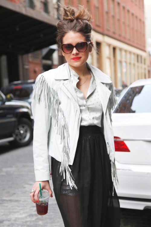 Jessica Looks Stunning in her Vintage Western Jacket…Meatpacking District, NYC (via Refinery29)