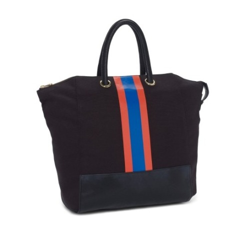 Collegiate stripe tote, $88, cwonder.com See more fab finds from C. Wonder, over on Slaves to Fashion.