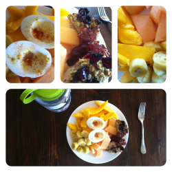 Hard-boiled egg whites w/ cumin + paprika, oatmeal cake, banana, mango, and cantaloupe.