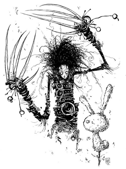 Today's daily sketch was a Twitter suggestion. Edward Scissorhands BLEW MY MIND when I was young. That and Beetlejuice were really big movies of my childhood and I watched them both more than I can count. I think I rented Beetlejuice once a month thru out elementary school. I'll jump on that one tomorrow.  9x12 bristol, brush, pen. SOLD