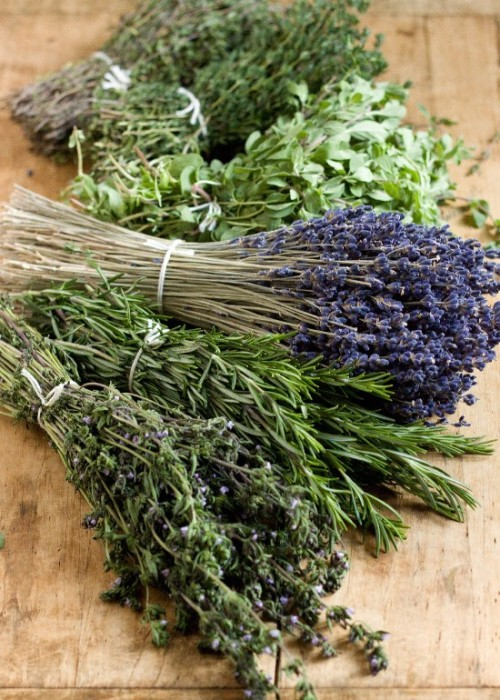 Herbes de Provence Make your own with this recipe from The Dog's Breakfast: NOTE: measurements are by volume4 pts. dried rosemary3 pts. dried thyme2 pts. dried savory2 pts. dried basil2 pts. dried marjoram1 pt. dried lavender Recipe for Roast Chicken Provençal
