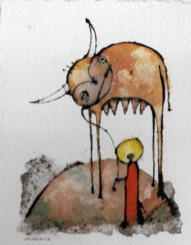 'Mythos 3'  Watercolor and Ink on 300# CP Watercolor Paper. Original and Prints Available for Purchase. http://mellonfineart.com/Prints.html ©2012 Mark M Mellon