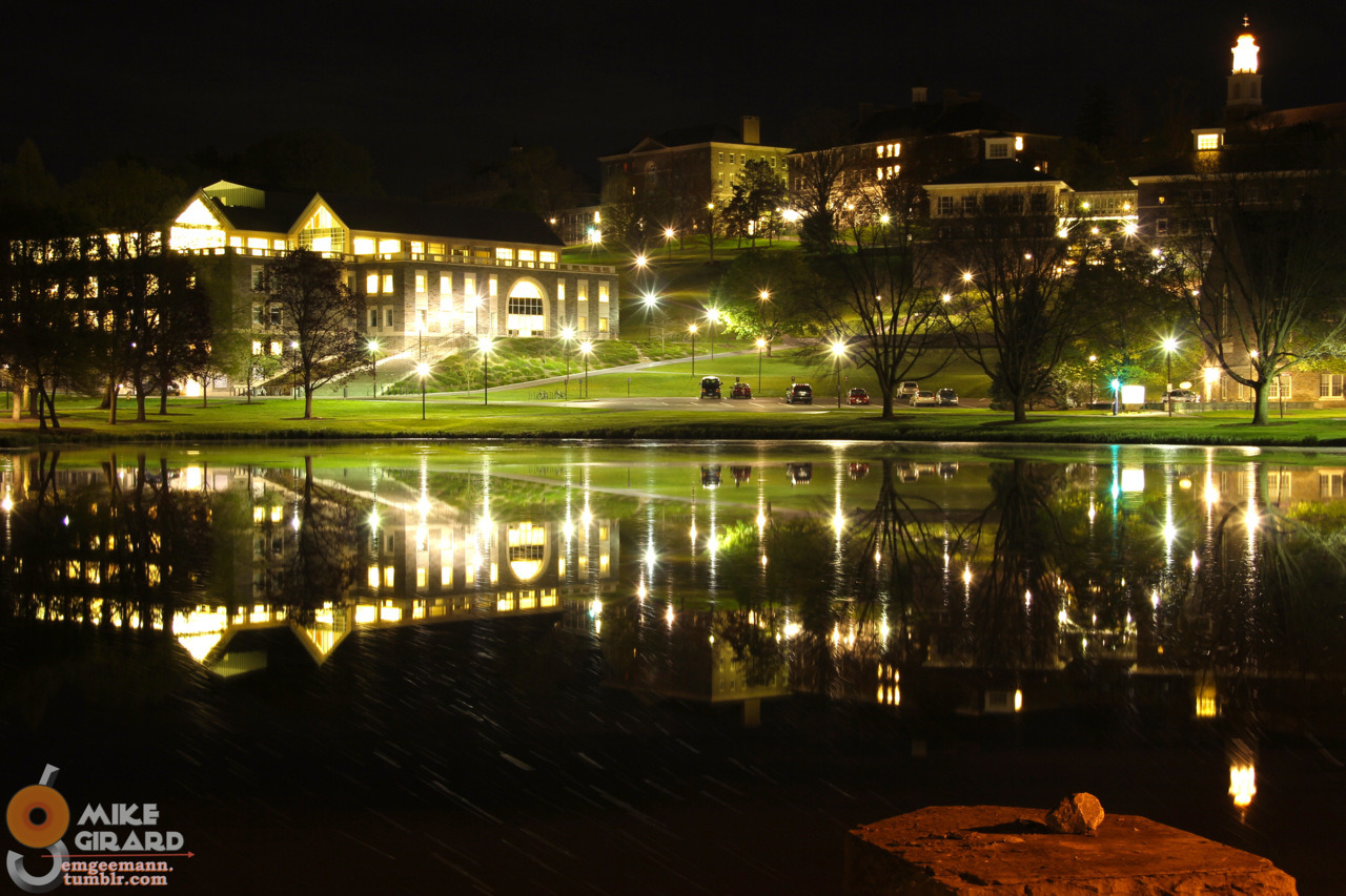 3AM Nighttime beauty over Taylor Lake. Colgate University, Hamilton, NY. ISO 100, f/7.1, 25 second exposure. Photo by Mike Girard.