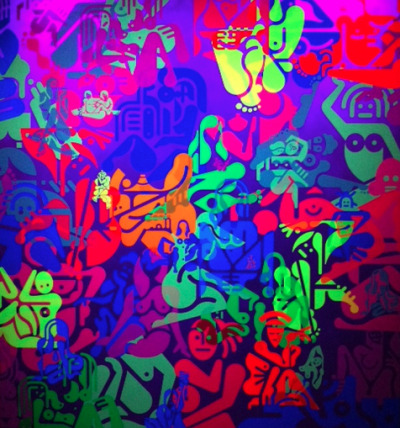 clubmonaco:   Ryan McGinness @ Charles Bank Gallery  Catherine Scales, our Senior Director of Women's Design, snapped this photo of Ryan McGinness' latest exhibit at Charles Bank Gallery, entitled Women: Blacklight Paintings & Sculptures.