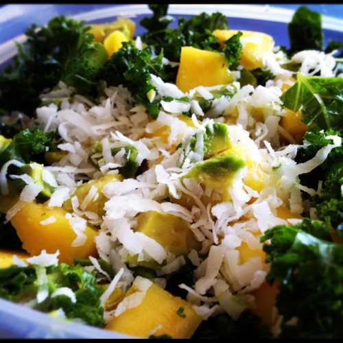 maddegoesvegan:  Massaged Kale Saladwith mango, avocado and coconut 2 1/2 cups kale, chopped 1T extra virgin olive oil 1/2 mango, cubed 1/2 avocado, cubed 1T shredded coconut  Massage kale with EVOO for a few minutes until greens wilt. Top with mango, avocado and coconut. Enjoy!