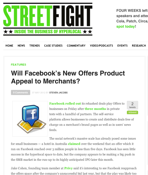 Scoutmob co-founder Michael Tavani talked with Street Fight about Facebook's second attempt at a self-service offers product.