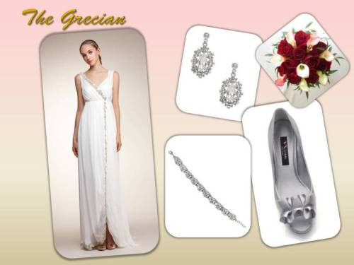 The Grecian embodies a soft and romantic mood. This silhouette by Alberta Ferretti is a great choice for a destination wedding or an intimate outdoor reception. Never fussy but always elegant and feminine with Swarovski crystal embroidery. Accessorize this gown with Nina Celia earrings that accent the embroidered trim and pair with silver Evelixa pumps also by Nina Bridal. Dress: Alberta Ferretti Embroidered Gown $2,999.00 Aisle $8,205.00 Retail Bracelet: Nina Bridal Lucita $115.00 Aisle Earring: Nina Bridal Celia $65.00 Aisle Shoe: Nina Bridal Evelixa Pump in Royal Silver $89.00 Aisle Shop this look now! On www.theaislenewyork.com