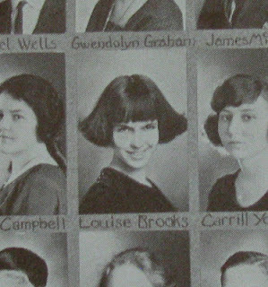 Louise Brooks at age 15 in her high school yearbook, already rocking the great bangs. This is just the age Louise is in Laura Moriarty's forthcoming novel The Chaperone. Check out the Louise Brooks Society's blog for more great old photos and facts on the lovely Lulu.
