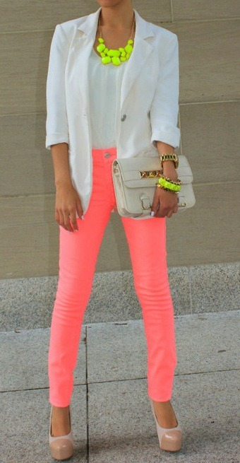 paperdollnyc:  WHAT A DOLL! fashionblvd:  Mixing pastels with neon colours! LOVE IT