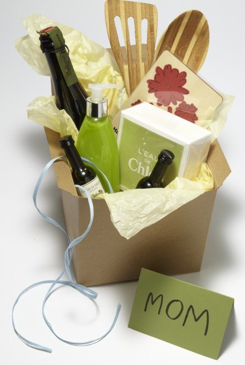 Turn the tables on Mom: Send her a care package! For the Mom who Love a Little Nosh:Give her an edible world tour: Line the inside of a cardboard box with an old map and pack it with treats like jasmine tea pearls from China, French macarons, figs from Spain or Belgian chocolate. Or look to family vacations for inspiration: saltwater taffy from San Diego, bagels from New York or maple syrup from Vermont. From the May 2012 issue of Every Day with Rachael Ray.