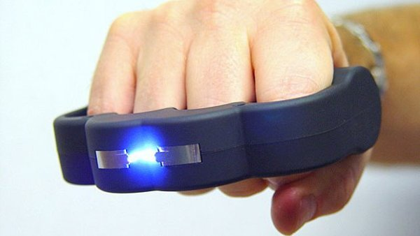 Knuckle Blaster Stun Gun   This uniquely-designed stun gun is meant for self-defense. It's shaped like one of those brass knuckles, but it's covered instead by a soft, rubber material to allow you to grip it more easily.