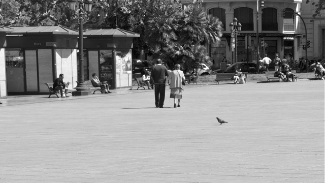 Old couple - Plaza del Ayuntamiento, Valencia.