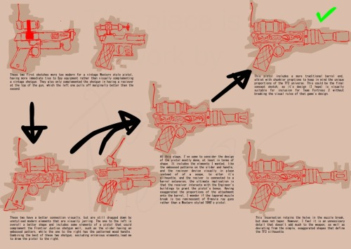 Concept sketches for a pistol for Team Fortress 2. Styled after the Frontier Justice to visually complement it, with the intention of the stats to interact with the Sentry Gun the Engineer has in some fashion.