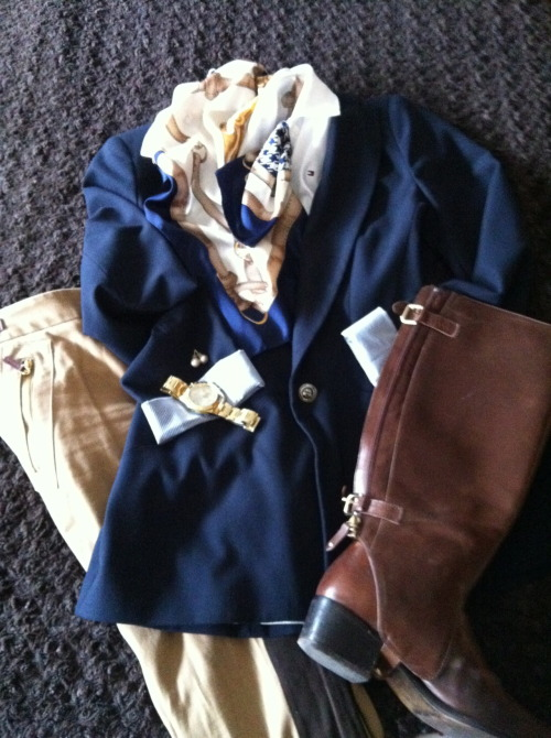 "Style 1: The classic equestrian style I put together this ""ensemble"", showing a classic style, which you can wear on a daily basis. Navy Blazer - from Zara Beige equestrian trousers - from Sfera Brown riding boots - from Massimo Dutti White Polo - from Tommy Hilfiger Scarf - from Tie rack (To complete this look wear pearls and a gold watch) -IL"