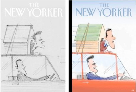 "Bag's Take-Away: From ""Blown Covers: New Yorker Covers You Were Never Mean to See."" The first cover ran in mid-March of this year. The outcome of the Michigan primary led editors to go with Romney driving rather than riding.  But we think artist Bob Staake's first version works pretty well if you put Axelrod behind the wheel.  via New Yorker Magazine (artist: Bob Staake Visit BagNewsNotes: Today's Media Images Analyzed ————— Topping LIFE.com's 2011 Best Photo Blogs — also follow us on Twitter and Facebook."