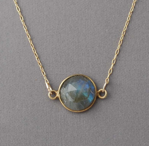 Etsy find of the day: round labrodite gold necklace.