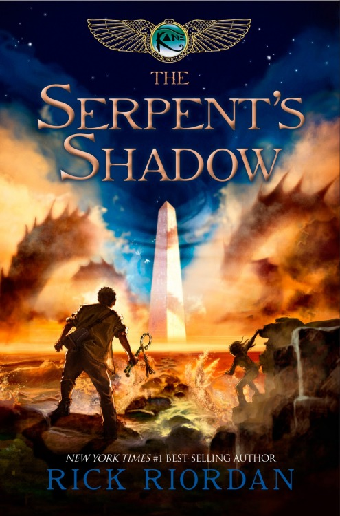 The Serpent's Shadow by Rick Riordan. A review of its perfection after the summary.   He's b-a-a-ack! Despite their best efforts, Carter and Sade Kane can't seem to keep Apophis, the chaos snake, down. Now Apophis is threatening to plunge the world into eternal darkness, and the Kanes are faced with the impossible task of having to destroy him once and for all. Unfortunately, the magicians of the House of Life are on the brink of civil war, the gods are divided, and the young initiates of Brooklyn House stand almost alone against the forces of chaos.To find the answer they need, the Kanes must rely on the murderous ghost of a powerful magician who might be able to lead them to the serpent's shadow… or might lead them to their deaths in the depths of the underworld… Summary from Goodreads!  DISCLAIMER: I am biased. More than usual, actually. I will tell you why: I love Rick Riordan's books for teens/kids/anyone, really—but they're marketed as middle grade books, I think. I have read the Percy Jackson series and I am eagerly (slowly dying) waiting for the third book of The Heroes of Olympus series, The Mark of Athena, which is out this fall. I also read the other two books of the Kane Chronicles (The Red Pyramid and The Throne of Fire) and I loved them (not as much as I love the Greek mythology works he's written—but still, lots of love). That being said… Here's what I thought: First off, this book has stunning cover art. I bought a physical copy (no nook for something this important) and the cover feels smooth and beautiful. My book smells rather wonderful, too. *sniffs book again* I believe I've said this before of Riordan, but he's got an awesome sense of humor. He's just funny. Which kind of makes me wonder if he's just naturally funny or if he has to revise his writing a bunch of times to make sure it's funny. Either way, it works for me. I love reading his stuff.  Another thing I love about Riordan? His characters, whether they be 12 or 18, are always empowered, in my opinion. This is true for this book as well. For instance, Sadie and Carter have to battle Chaos in order to save the world. These kids have admirable qualities (they're brave, intelligent, loyal, etc) and they're likable—you're always rooting for them because they have heart.  The action: perfect. It lets up at the right moments and leaves room for character development, yet picks up and takes you for an emotional roller-coaster ride—more likely than not, you'll end up caring about all the characters and you will have all these feelings squished against each other, crowding your chest and trying to get out. I was proud of myself—no tears this time. (No, this book does not have a sad ending. It has a perfect ending.)  I think this type of book is really good reading material for everyone. I mean, I'm 20 and I can't get enough of these books. I will always be a die-hard Riordan fan.  What I really wanted to say about this book, though, is that it is a delightful ending to the chronicles. I enjoyed it quite a bit. Also, the insinuations made at the end of this book made me very hopeful (no spoilers here, but if you've read it, then you know what I mean).  Do I recommend this series? I sure as hell do.  Also, if anyone has read this, message me. I need to talk to someone about this.