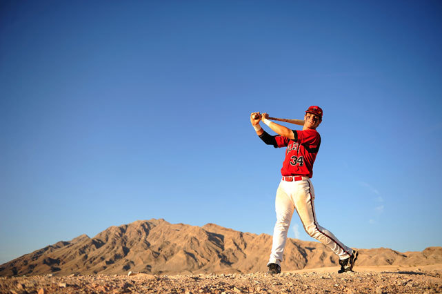 Bryce Harper poses in the Las Vegas desert during a 2009 SI photo shoot. The Nationals prospect stole home base yesterday against Cole Hamels after the Phillies hurler hit him with a pitch. GALLERY: Photos of Bryce Harper